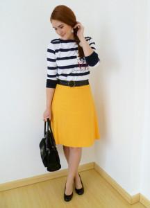 С чем носить желтую юбку фото