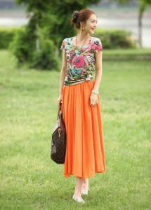 С чем носить оранжевую юбку фото