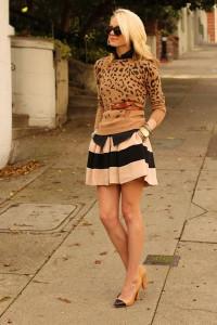 С чем носить полосатую юбку
