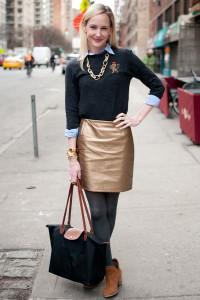 С чем носить золотую юбку