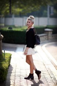 С чем носить кружевную юбку фото