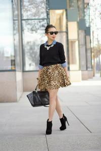 с чем носить юбку с леопардовой расцветкой фото