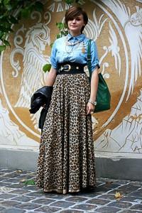 С чем носить леопардовую юбку фото