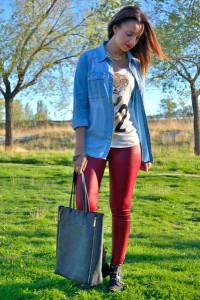 с чем носить цветные лосины фото
