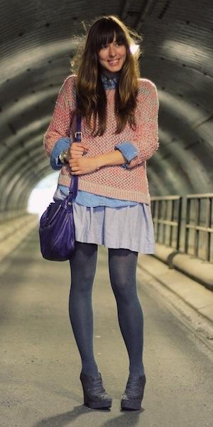 Что носить с синей юбкой фото
