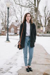 C чем носить джинсы-mom фото