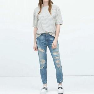 с чем носить джинсы с дырками фото