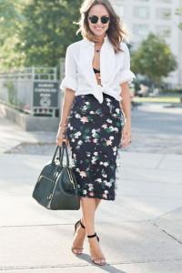 С чем носить юбку с цветочным принтом