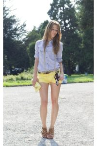 с чем носить желтые шорты