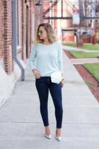 Nikki-Bedazzles-After-Dark-Fashion-Blog-Blonde-Ombre-Messy-Hairstyle-Metallic-Belt-Bag-Fanny-Pack-Blue-Sweater-Dark-jeans-Silver-Metallic-Pointed-Toe-Pumps (733x1100)