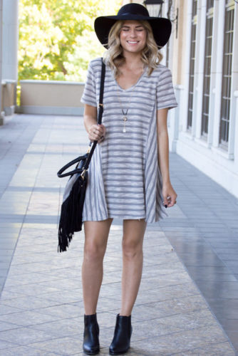 2mtuo3-l-610x610-dress-stripes-stripeddress-boots-purse-cute-cutedress-girl-girly-falloutfits-falldress-ootd-fashion-style-grey-greydress-tshirtdress-vneckdress-vneck-necklace-floppyhat