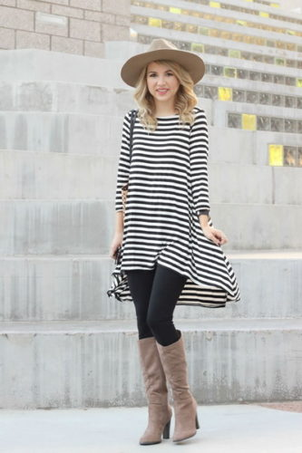 classic-outfit-striped-dress-knee-boots-hat-attack2323