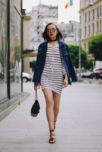 patched-oversized-denim-jacket-lace-up-striped-dress-black-crossbody-bag-strappy-sandals-chocker-dior-sunglasses-cute-summer-outfit-andreea-birsan-10