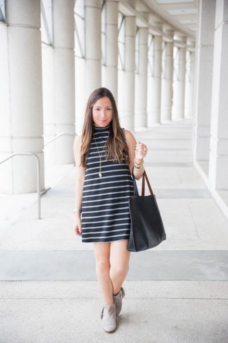 black-and-grey-striped-dress