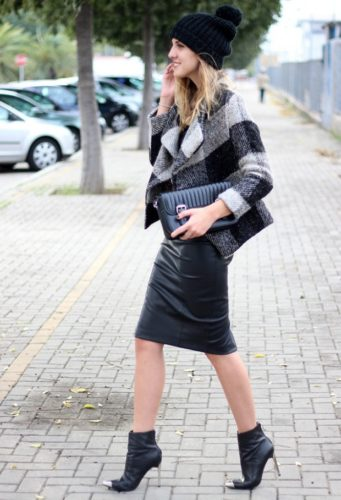 С чем носить кожаную юбку-карандаш фото