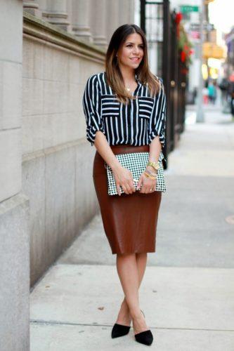 С чем носить кожаную юбку-карандаш