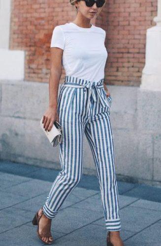 брюки в полоску фото